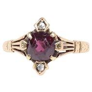 Victorian 14K  Yellow Gold Garnet and Rose Cut Diamond Ring