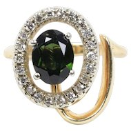 Vintage 14K Yellow Gold Peridot Diamond Ring