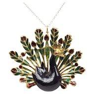 Vintage Ladies Big Beautiful Peacock Pendant Brooch Pin 18K