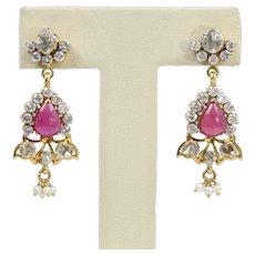 Antique 18K Yellow Gold Diamond Ruby Earrings