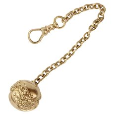 Victorian Gold Ball Watch Fob Charm Pendant