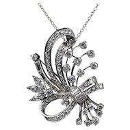 Vintage Ladies Flower and Ribbon 5.3 Carats Diamond Platinum Brooch Pin Pendant