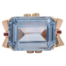 Huge Retro Vintage Synthetic Spinel Statement Ring
