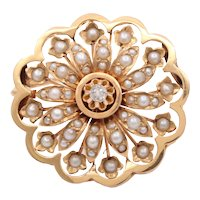 Victorian French Starburst Diamond Seed Pearls 14K Yellow Gold Brooch Pin