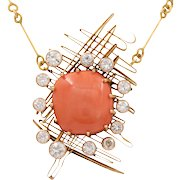Vintage Abstract Coral Diamonds 18K Yellow Gold Pendant and Chain