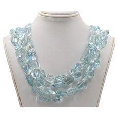 Vintage Sterling Silver Aquamarine  Bead  Pearl Quadruple Strand Necklace