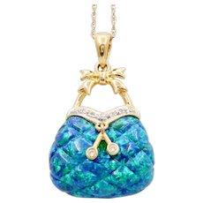 Cute Vintage 14K Synthetic Opal Diamond Purse Pendent