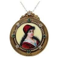 Vintage Victorian Revival Enamel Portrait Pendant Pin Brooch With Diamonds and Emeralds