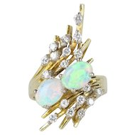 Vintage Opal and Diamond 18K Yellow Gold Cluster Ring