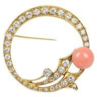 Vintage Ladies Coral Diamonds 14K Brooch Pin