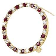 Vintage and Elegant Ladies Ruby and Diamond Brooch Pin 18K
