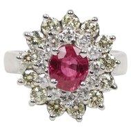 Vintage Ladies Ruby and Diamond 14K White Gold Ring
