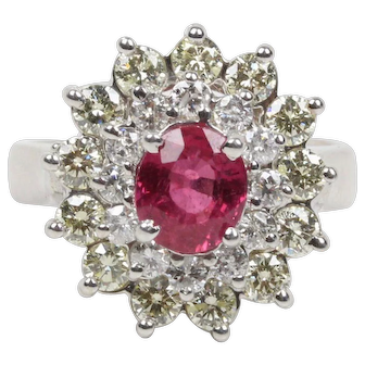 Vintage Ladies Ruby and Diamond 14K White Gold Ring