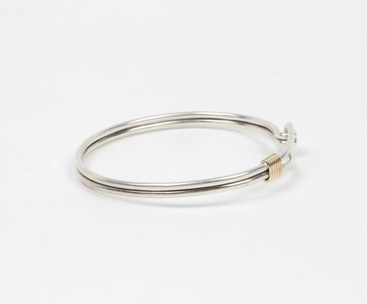 f1bad351a4126 Vintage Tiffany and Co. Hook and Loop Bangle Sterling Silver 14K