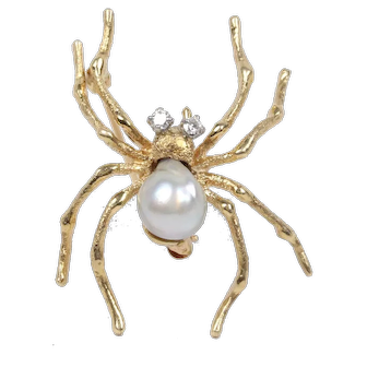 Spider Brooch Pin 14K Yellow Gold Diamonds Pearl