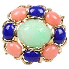 Beautiful Vintage Multi Stone Jade Jasper Lapis Lazuli Brooch Pin