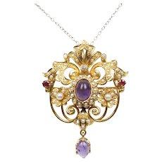 Victorian Ladies Brooch Pin Pendant Rubies Tourmaline Seed Pearls Amethyst