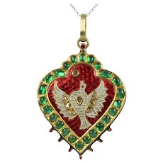 Vintage Heart Pendant Diamonds Emeralds Rubies 18K Yellow Gold
