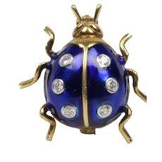 Vintage Ladies 18K Yellow Gold Diamonds Blue Enamel Ladybug Brooch Pin