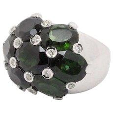 Vintage Ladies' Green Tourmaline Diamonds Cocktail Ring