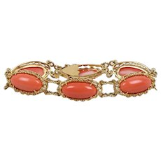 Elegant Vintage Ladies Coral 18K Yellow Gold Bracelet