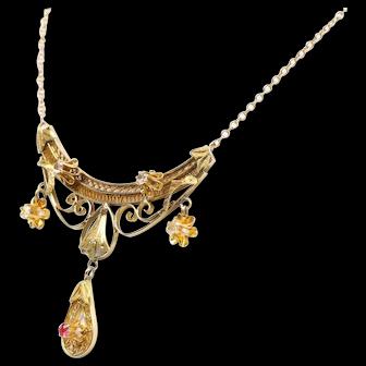 Art Deco Diamond 14k Yellow Gold Necklace