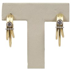 Vintage Denior 18K Yellow Gold, Diamond Earrings