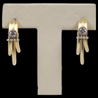 Vintage Denior 18K Yellow Gold, Diamond Earrings