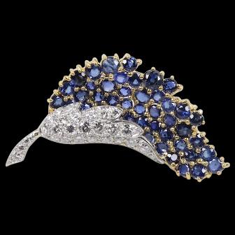 Vintage 18K Sapphire & Diamond Brooch
