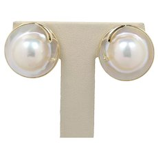 Vintage 14K Yellow Gold Mother Of Pearl Diamond Clip Earrings