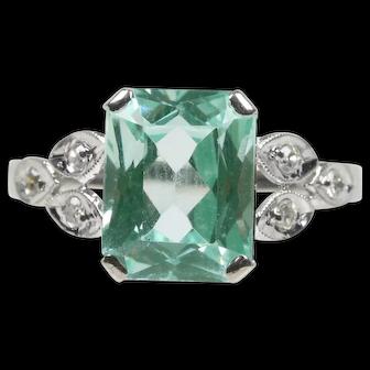 Vintage 14K White Gold Ring with Emerald Cut Aquamarine Center Stone & Diamonds