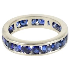 Beautiful Vintage Ladies Eternity Ring Blue Sapphires 14K White Gold
