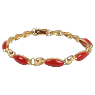 Vintage Ladies Coral 18K Yellow Gold Bracelet