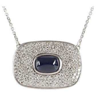 Elegant Vintage Sugarloaf Sapphire Diamonds 14K White Gold Pendant Chain