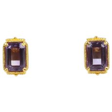 Vintage 14K Yellow Gold Amethyst Earrings