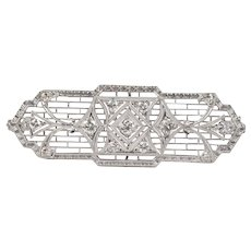 Art Deco Filigree Diamond 14K White Gold Brooch