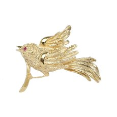 Vintage 14K Yellow Gold Sparrow Brooch