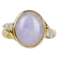 Vintage 18K Yellow Gold Lavender Jade Diamond Ring