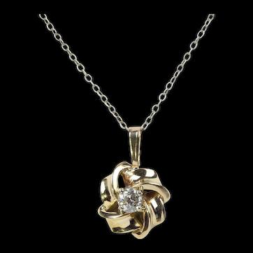 Vintage 14K Yellow Gold Floral Diamond Pendant