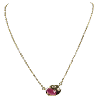 Vintage 18K Gold Ruby And Diamond Necklace