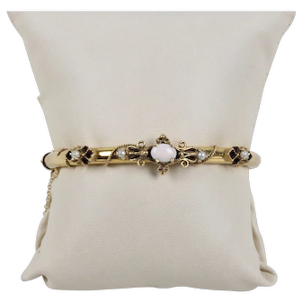 Victorian 14K Yellow Gold Opal Bangle