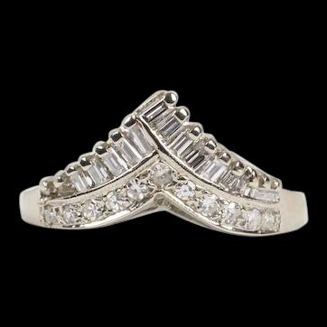 "Vintage 14K White Gold ""V"" Shaped Wedding Band With Diamonds"