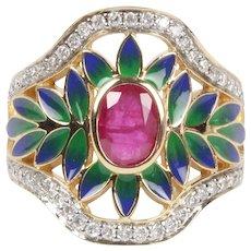 Vintage 14K Floral Burma Ruby Enamel and Diamond Cocktail Ring