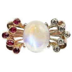Retro 14K Rose Gold Moonstone Diamond Ruby Ring