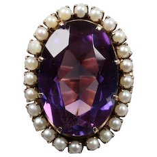 Vintage 14K Rose Gold 15+ Carat Amethyst Seed Pearl Statement Ring