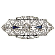 Art Deco 14K White Gold Diamond And Sapphire Brooch