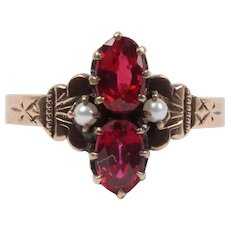 Rare Beautiful Victorian Ruby Seed Pearl 9K Rose Gold Ring