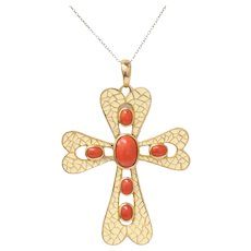 Vintage 18k Yellow Gold Coral Enamel Cross