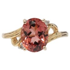 Vintage 14K Yellow Gold Tourmaline Diamond Ring