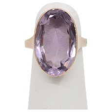 Vintage 9K Yellow Gold Rose De France Amethyst Solitaire Ring